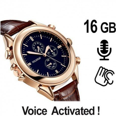 Auf den ersten Blick eine stylische Luxus-Armbanduhr, in Wahrheit ein Digitaler Spionagerecorder mit verstecker Aufnahmefunktion in HD-Qualitiät.