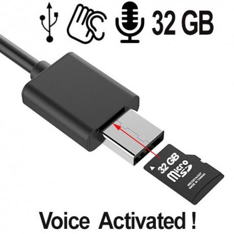 Digitale Spionagerecorder versteckt in einem USB-Ladekabel für Handys.