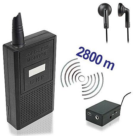 Funkbasiertes Abhörgeräte Set-2800, Funk-Wanze mit Empfänger. Komplett-Set zum Abhören und Aufzeichnen bis zu 2800 Meter. Für qualitativ hochwertige drahtlose Audio-Überwachung in Echtzeit. Das Abhörgerät kann durch geringen Grösse fast überall versteckt werden.